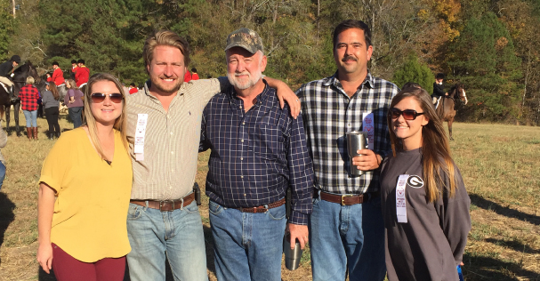 M.I.T. employees enjoy a fun day of foxhunting. From left to right: Sarah Lee, Brett Lee, Rick Player, Frank Watts, and Megan Prescott.