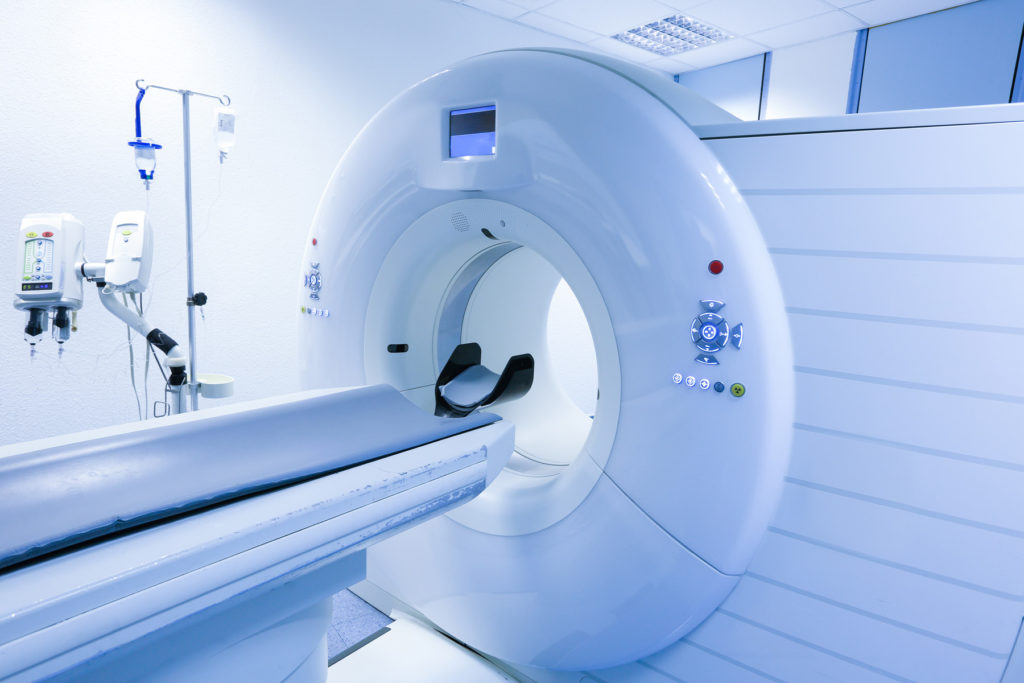 A CT scanner is seen in a hospital laboratory.