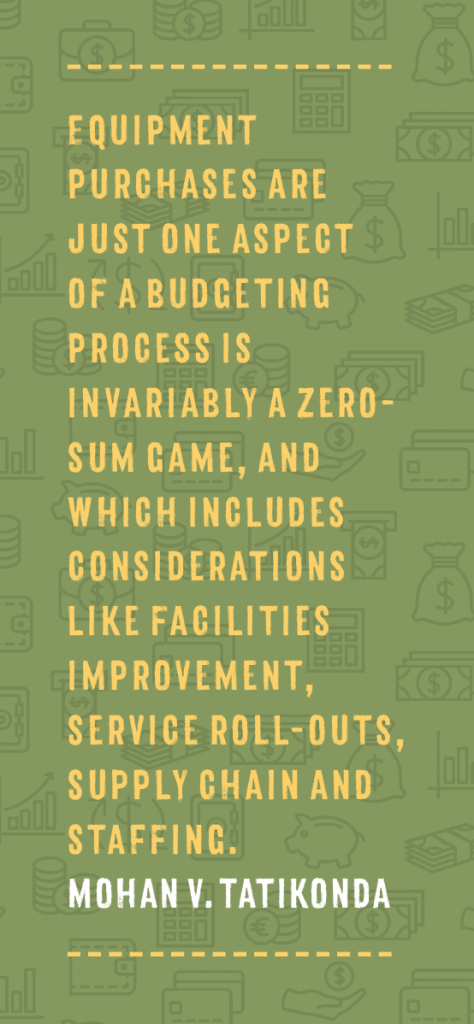 Equipment purchases are just one aspect of a budgeting process is invariably a zero-sum game, and which includes considerations like facilities improvement, service roll-outs, supply chain and staffing. Mohan V. Tatikonda